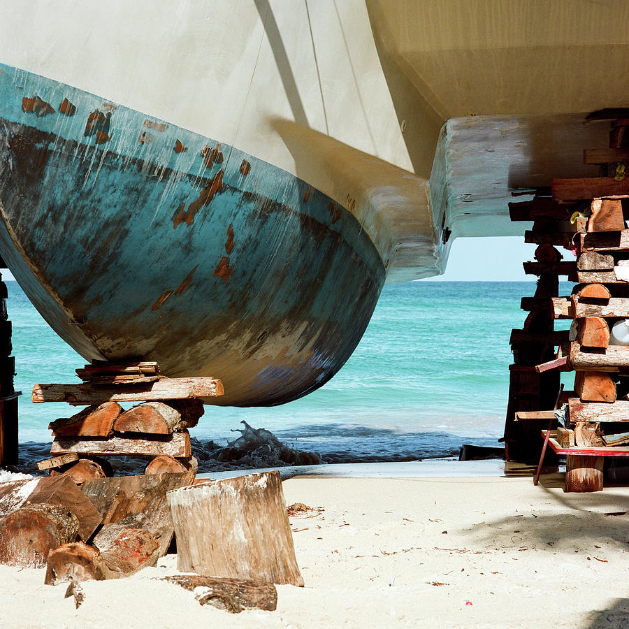 Catamaran Repair On Beach In Jamaica Photograph by Joseph X. Burke Analog Photography