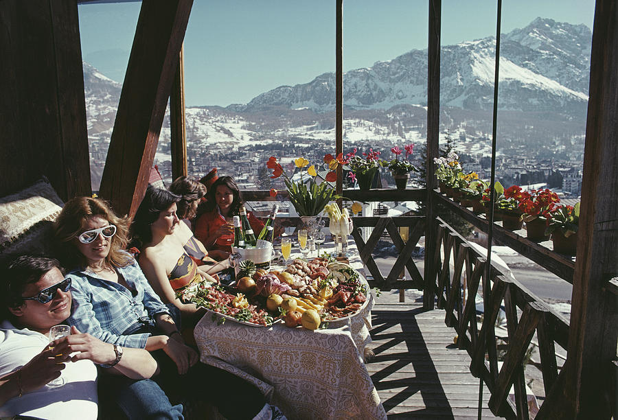 Lifestyles Photograph - Catching The Sun In Cortina by Slim Aarons