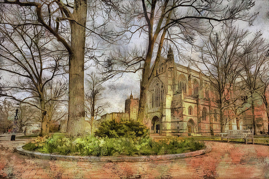 Cathedral At Princeton University In New Jersey And Daffodils Photograph
