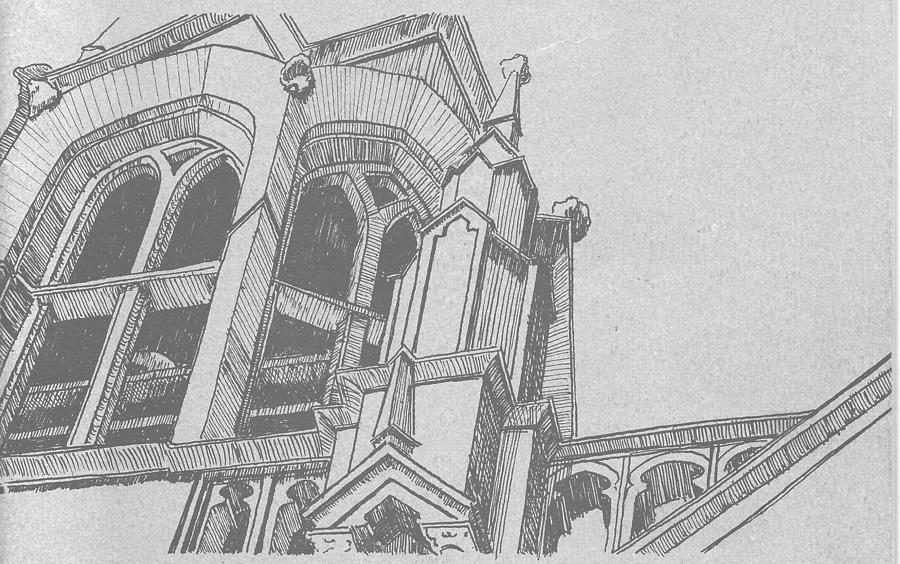 Cathedral Drawing - Cathedral Helena Montana by Kevin Heaney
