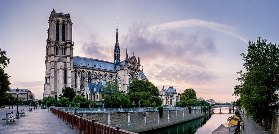 Notre Dame Photograph - Cathedral Of Notre Dame From The Bridge - Paris France by Harmeet Gabha
