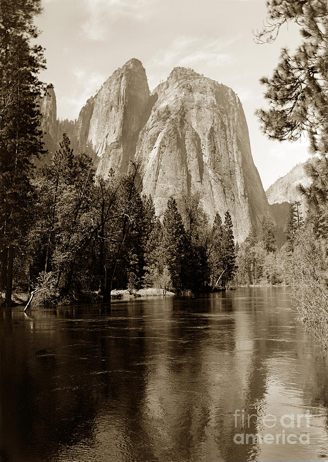 Cathedral Rocks/Spires reflecting in Merced River at Yosemite 1 by California Views Archives Mr Pat Hathaway Archives