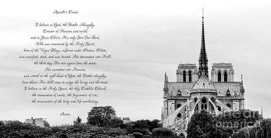 Catholic Apostles Creed and Notre Dame Cathedral in Black and White by Rose Santuci-Sofranko