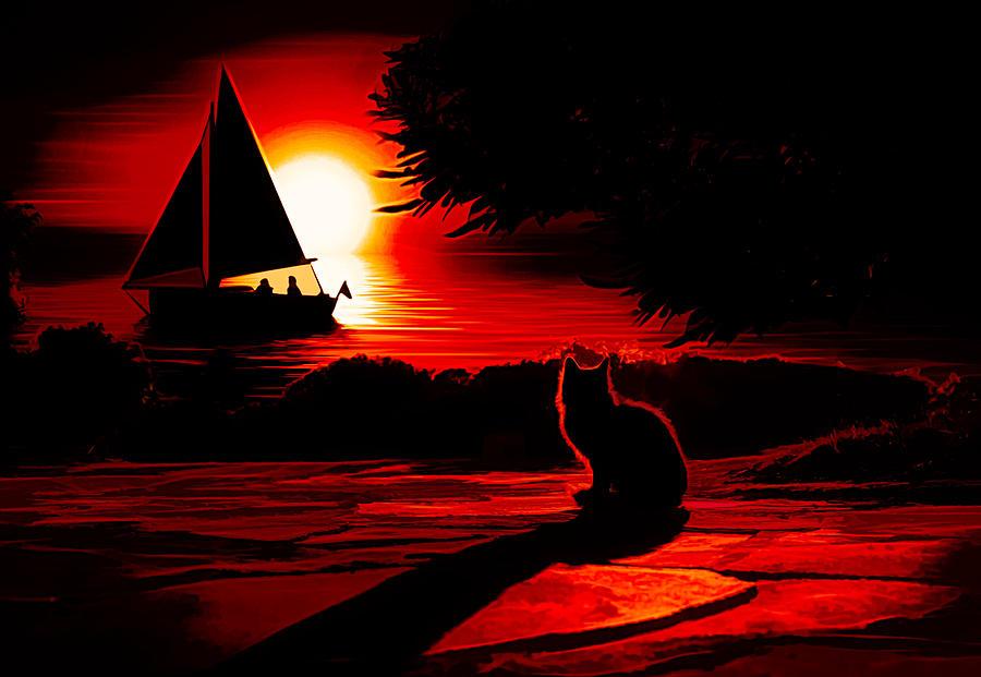 Cat Digital Art - Cats Dream by Jasmina Seidl