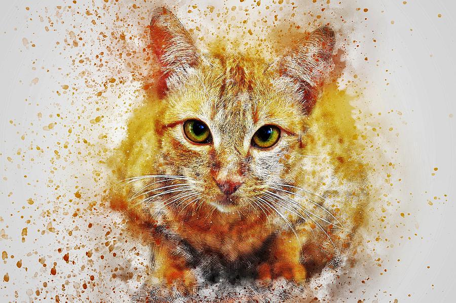 Cat Painting - Cats Eye by ArtMarketJapan