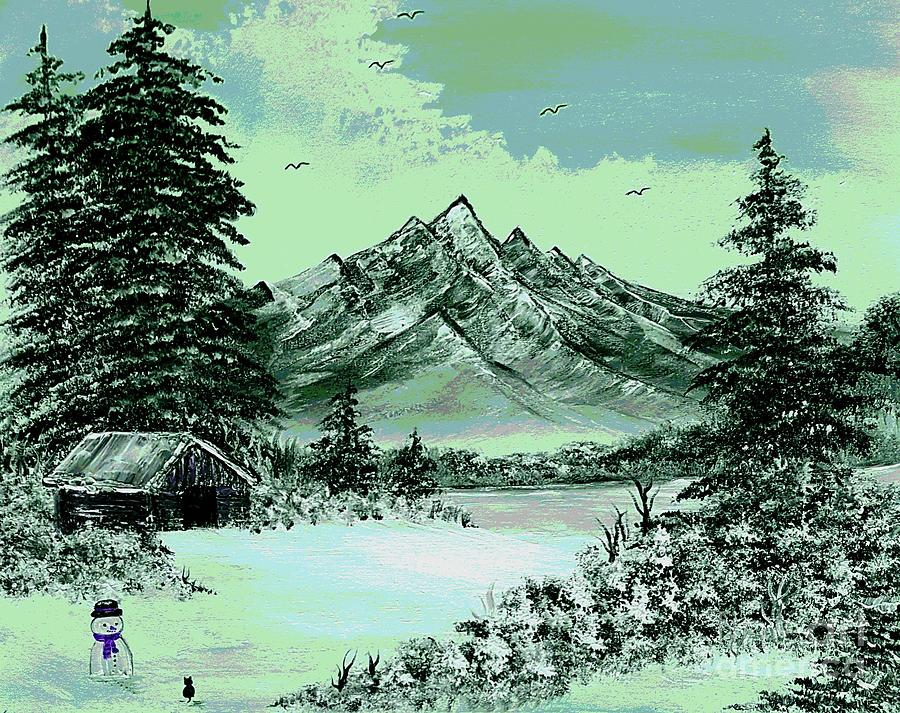 Arty Painting - Cats First Winter Fun Arty Style Green by Angela Whitehouse