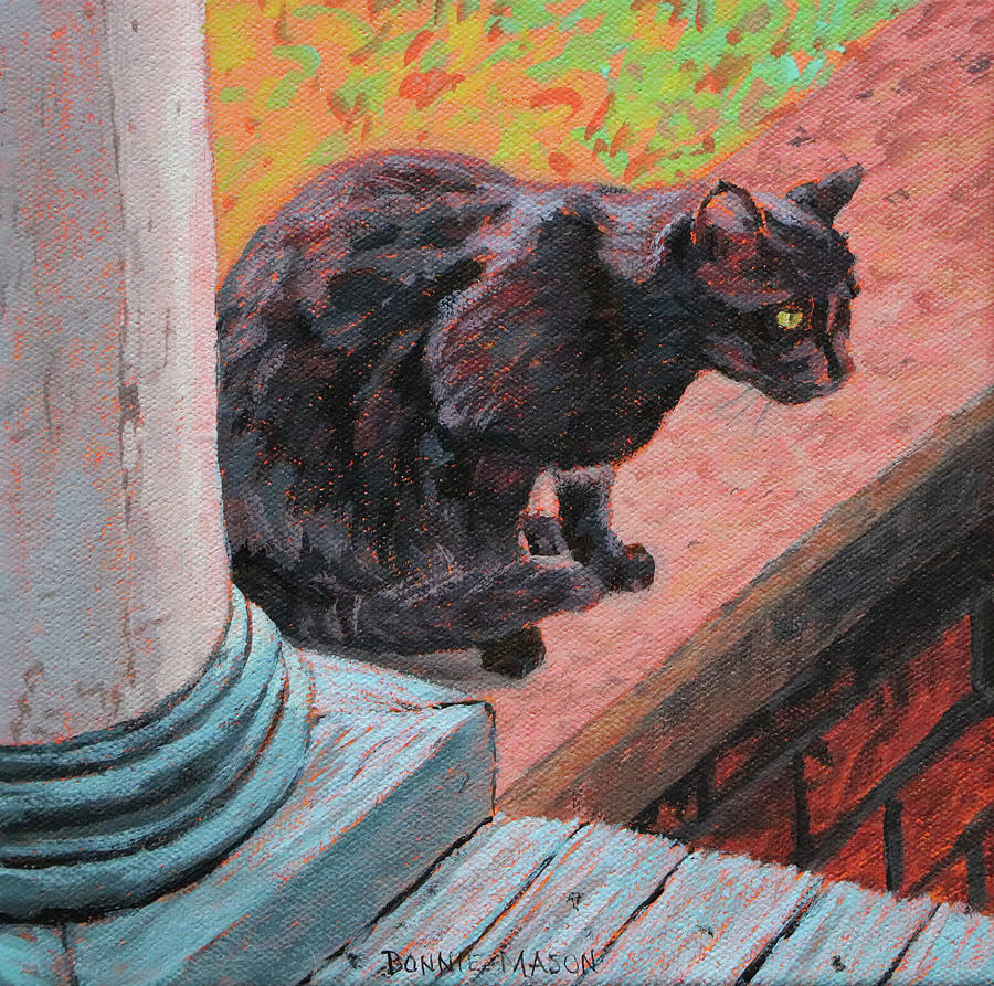 Bonnie Mason Painting - Cats Pause 2 - Black Cat On The Front Porch by Bonnie Mason
