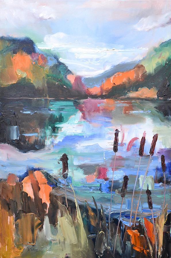 Cattails     Mountain Landscape by Donna Tuten