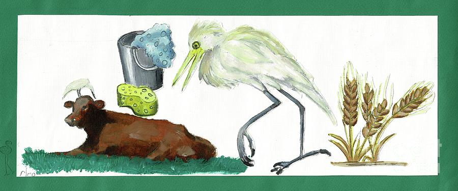 Cattle Egret Painting - Cattle Egret by Sigalit Aharoni