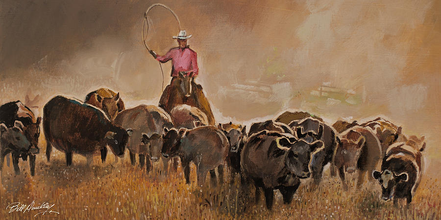Cattle Roundup Painting by Bill Dunkley