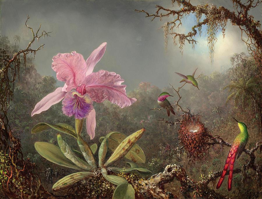 Martin Johnson Heade Painting - Cattleya Orchid And Three Hummingbirds, Circa 1871 by Martin Johnson Heade