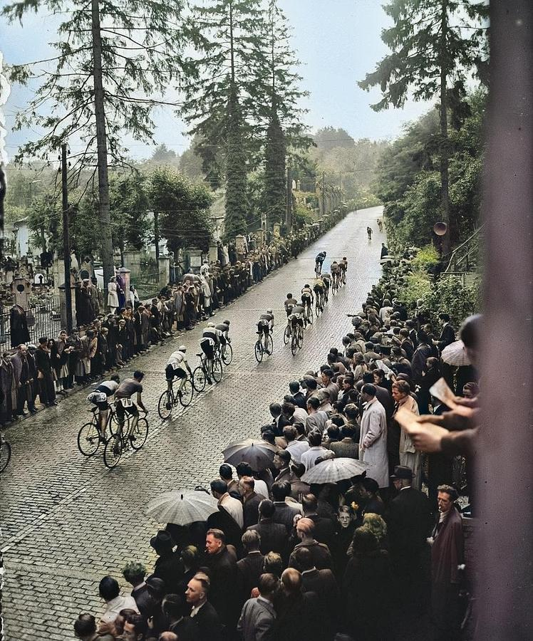 Cauberg Criterion 1946  Climbing Nationaal Archief, Anefo, Cc0 Colorized By Ahmet Asar Colorized B Painting