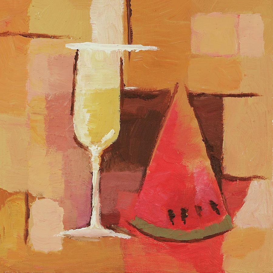 Cava Painting - Cava And Melon by Lutz Baar