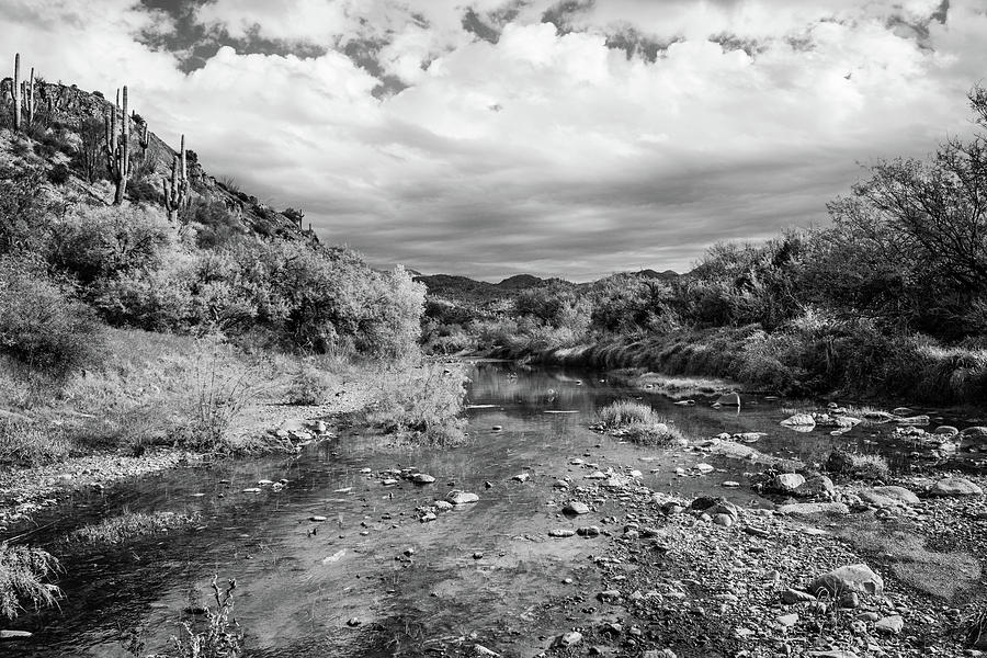 Cave Creek on a Cloudy Day - BW by Juliana Swenson
