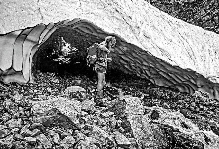 Cave Man Bw Photograph