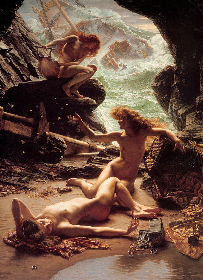 Nude Women Painting - Cave Of The Storm Nymphs by Edward Poynter