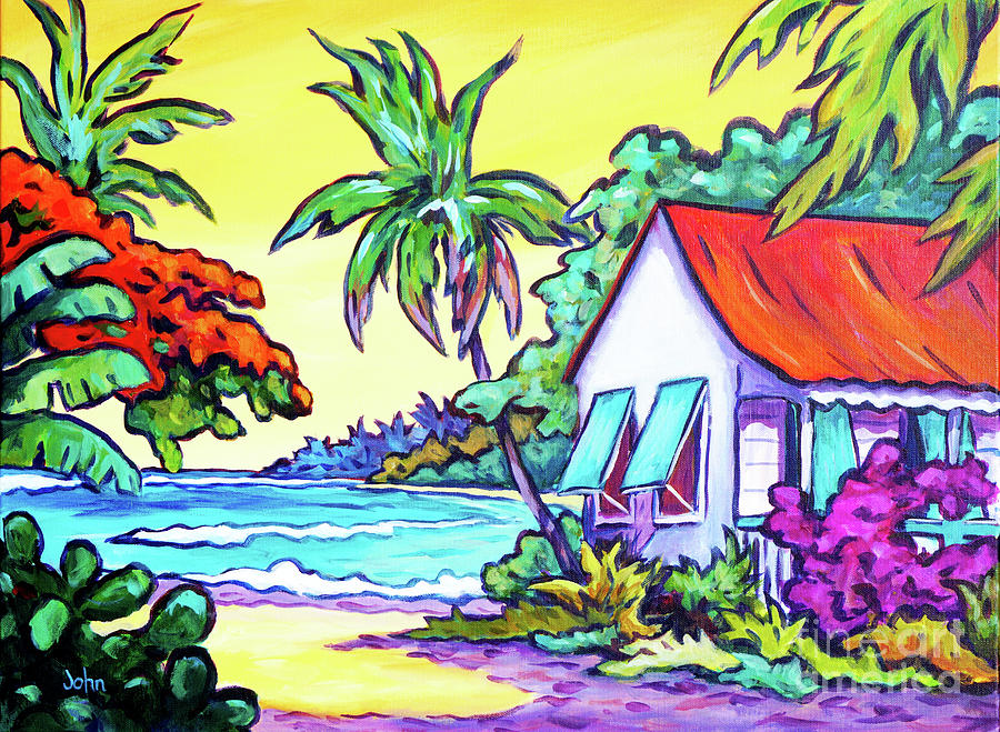 Cayman Painting - Cayman Cottage On The Bay by John Clark