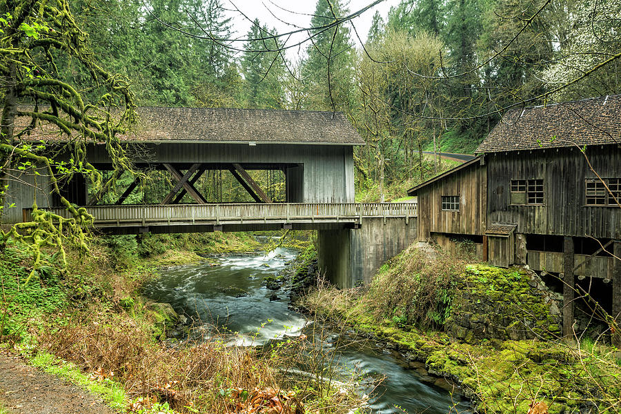 Cedar Creek Covered Bridge and Grist Mill by Belinda Greb