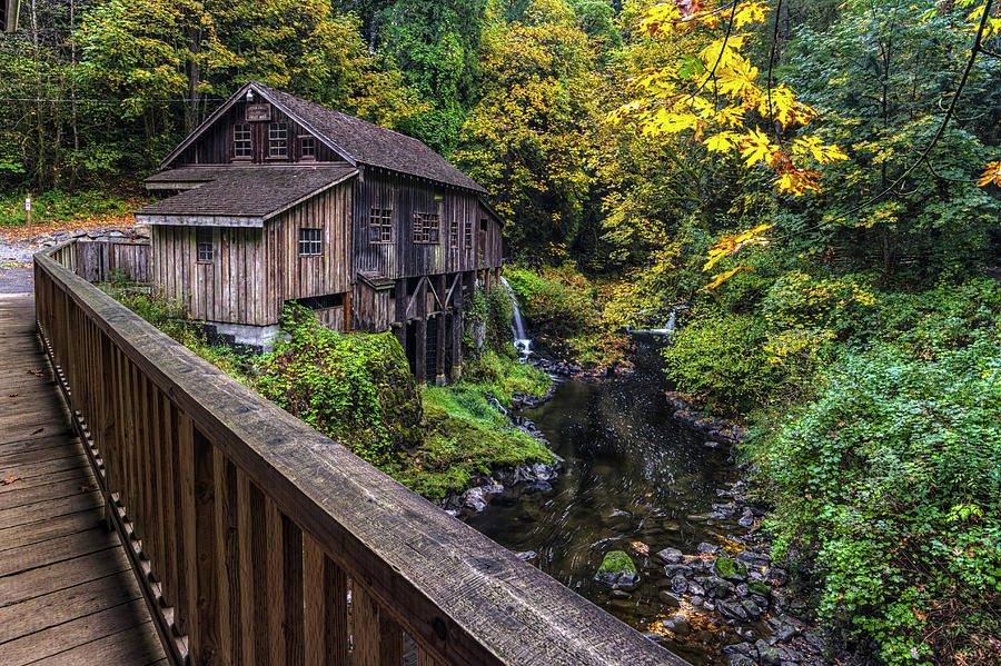 Cedar Creek Grist Mill Bridge View by Mark Kiver