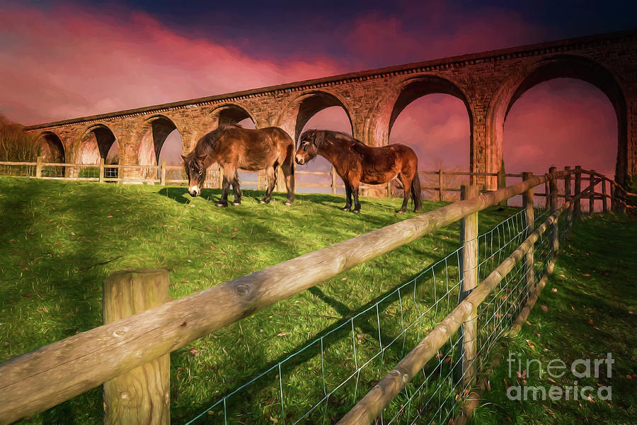 Cefn Mawr Photograph - Cefn Viaduct Horses At Sunset by Adrian Evans