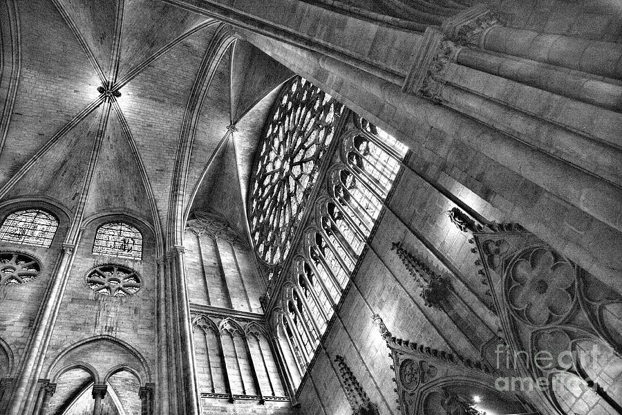 Ceiling view Notre Dame Black White  by Chuck Kuhn