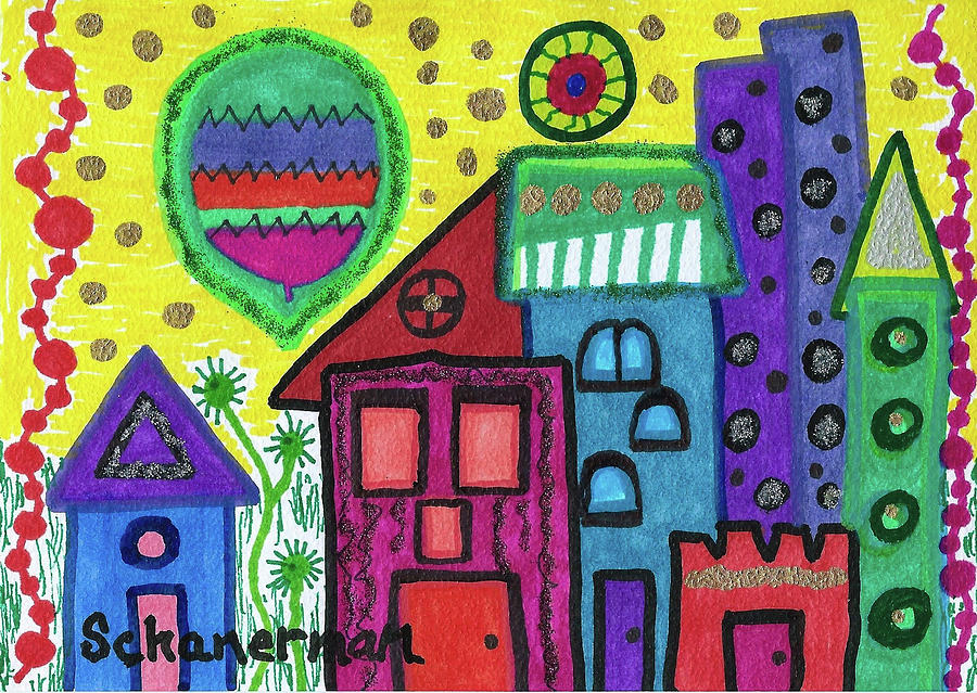 Whimsical Drawing - Celebration City by Susan Schanerman