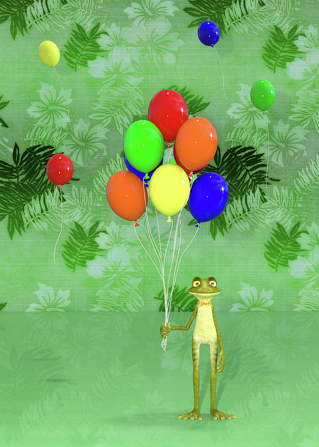 Birthday Digital Art - Celebration With Frog by Betsy Knapp