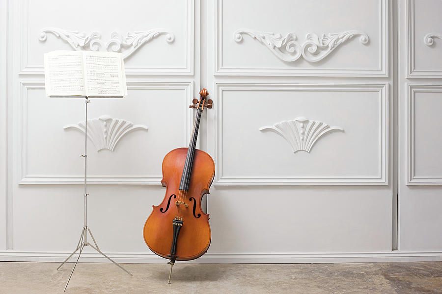 Cello And Music Stand Photograph by Image Source
