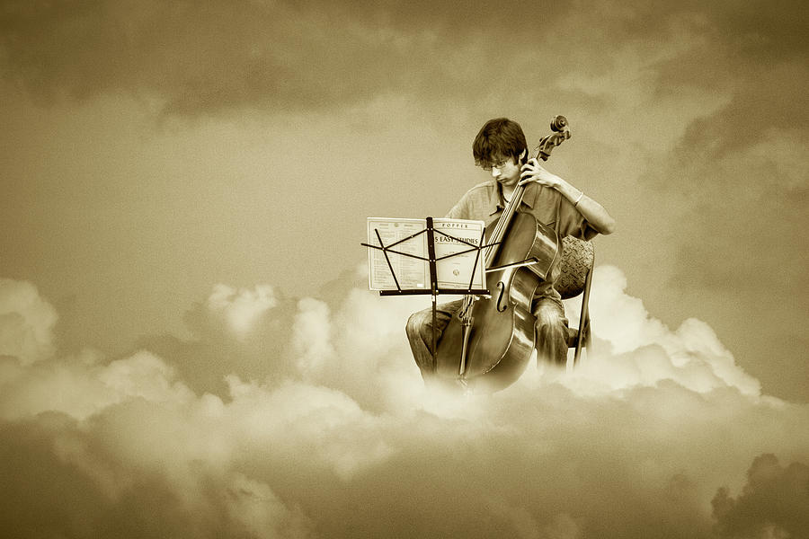 Cello Player Playing on Cloud Nine in Sepia Tone by Randall Nyhof