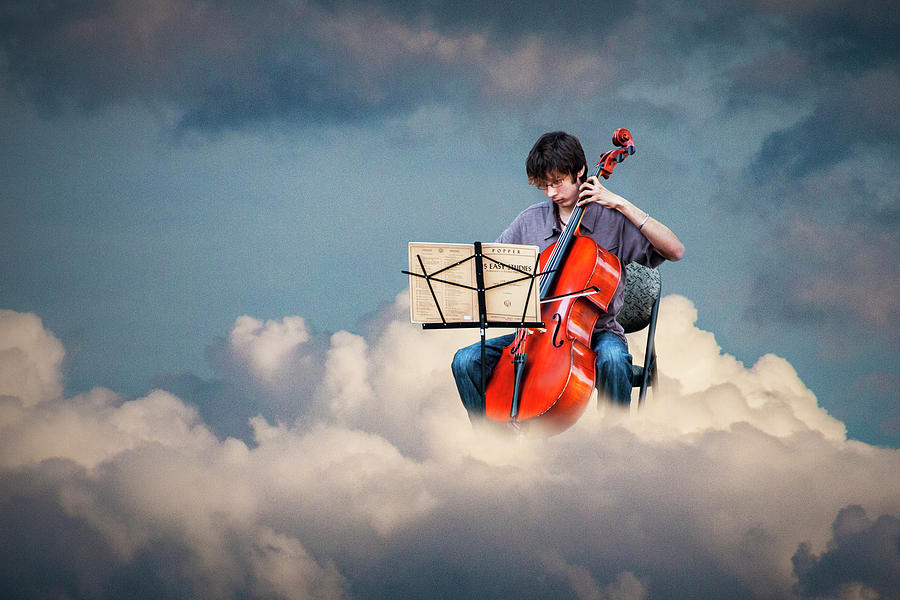Cello Player Playing on Cloud Nine by Randall Nyhof