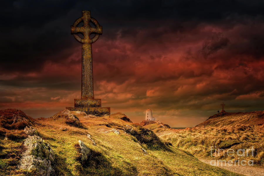 Celtic Cross Photograph - Celtic Cross Llanddwyn Island by Adrian Evans