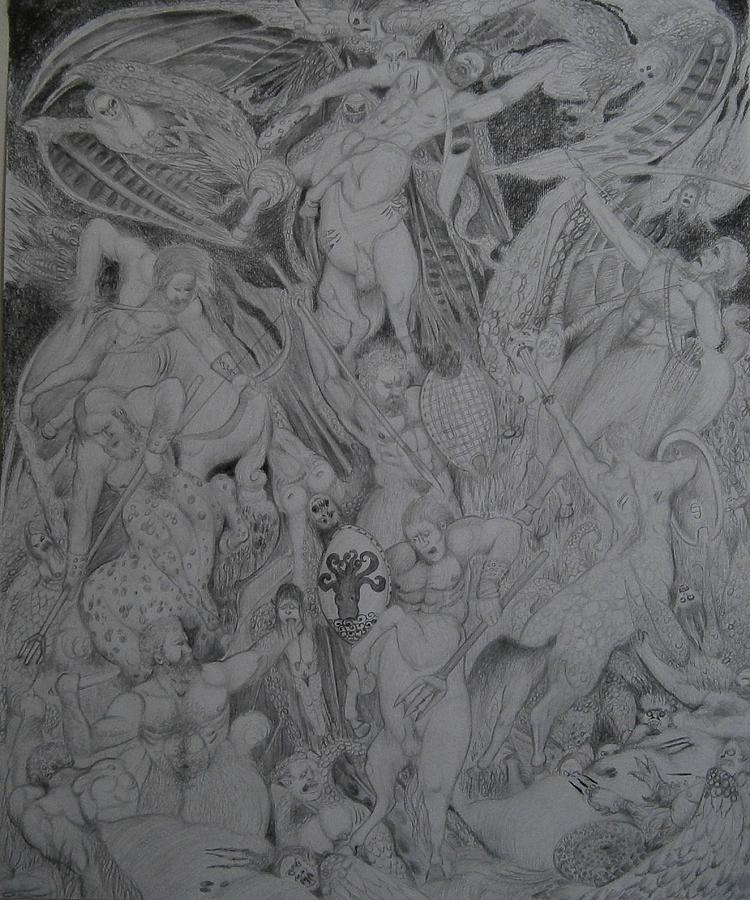 Centaurs Overwhelmed By Voracious Harpies by Balkishan Jhumat