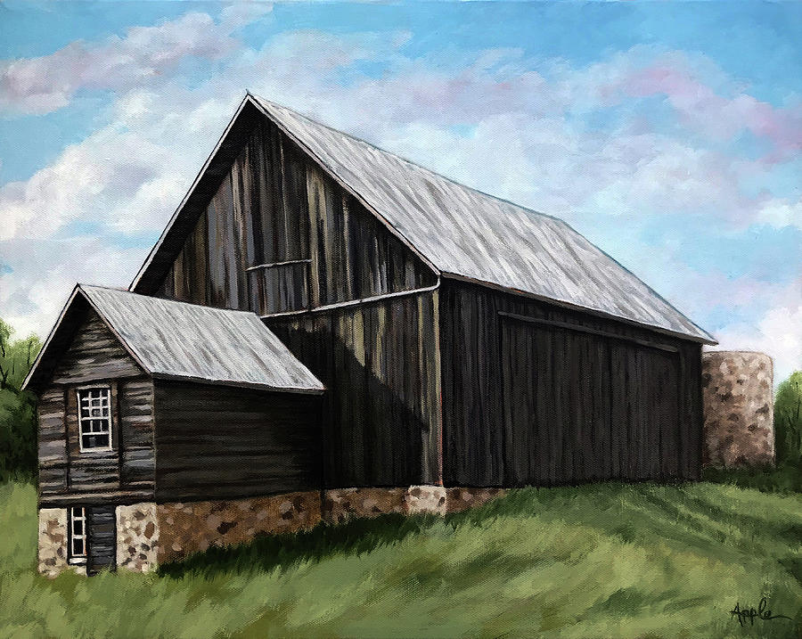 Oil Painting Painting - Centennial Barn by Linda Apple