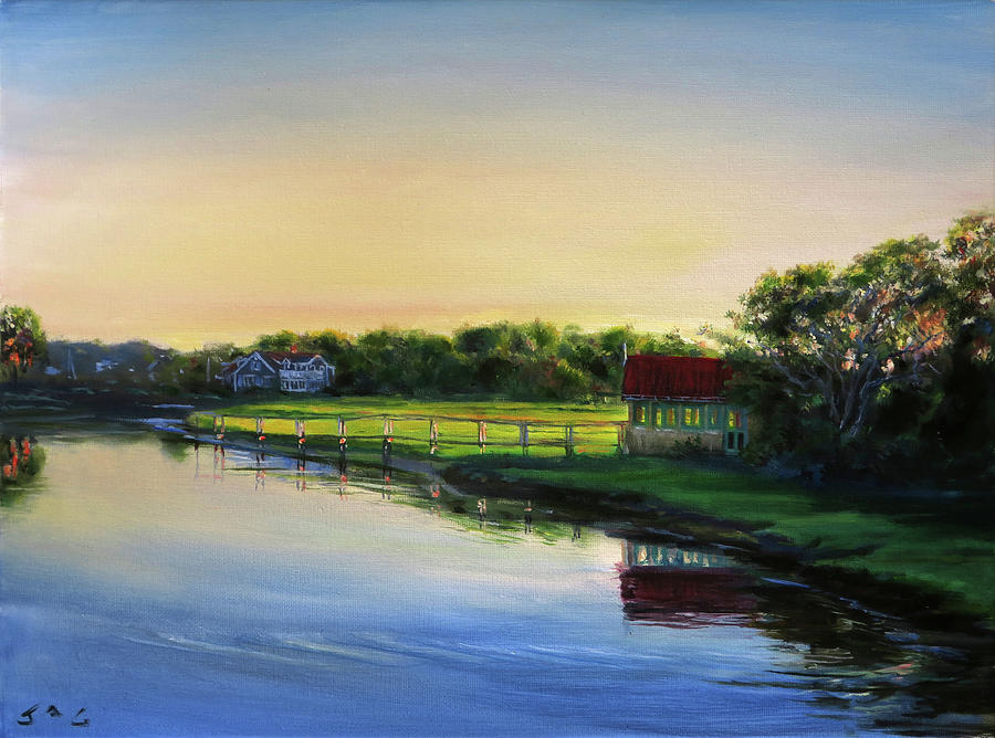Cape Cod Painting - Centerville River Boathouse, Late Afternoon by Jonathan Guy-Gladding JAG