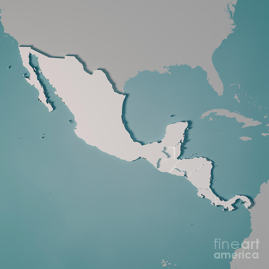 Central America Country Map 3d Render