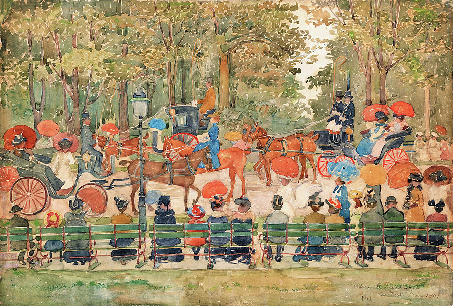 Usa Painting - Central Park 1901 - Digital Remastered Edition by Maurice Brazil Prendergast