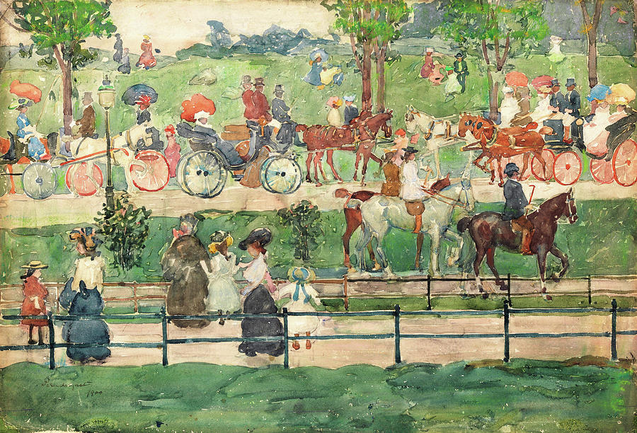Usa Painting - Central Park - Digital Remastered Edition by Maurice Brazil Prendergast