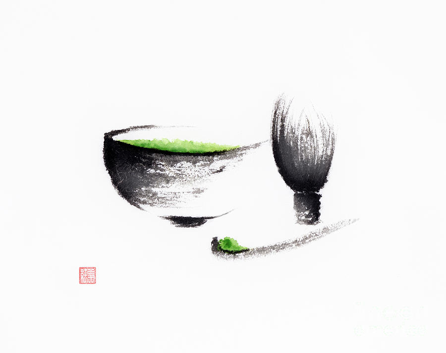 Matcha Painting - Ceremonial matcha set still life Sumi-e Japanese ink painting by Awen Fine Art Prints