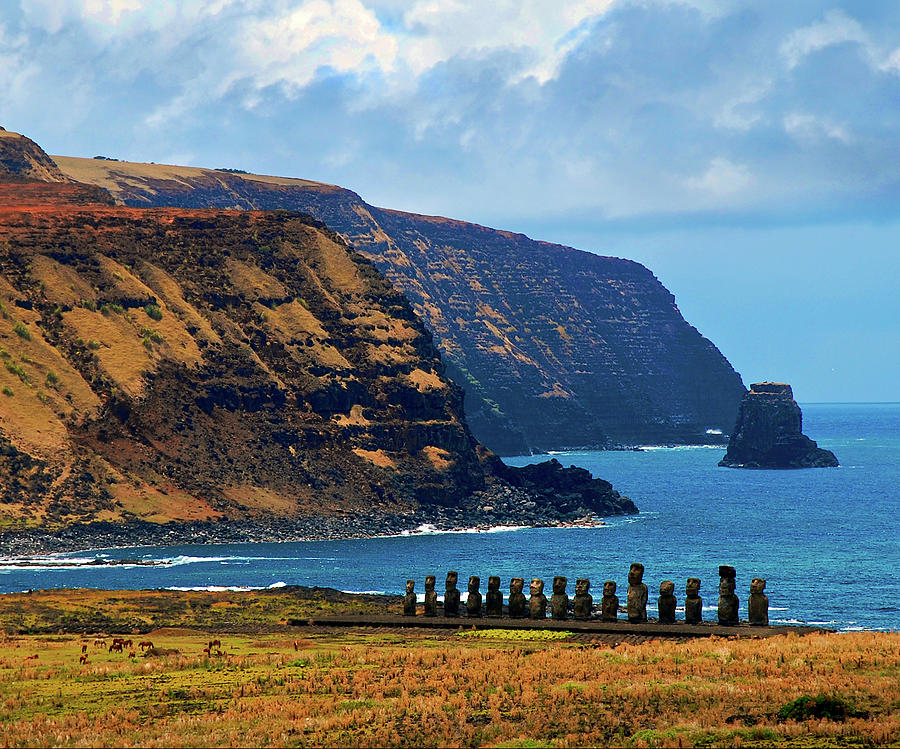 Ceremonial Place With 15 Moai Photograph by Miguel Vasquez