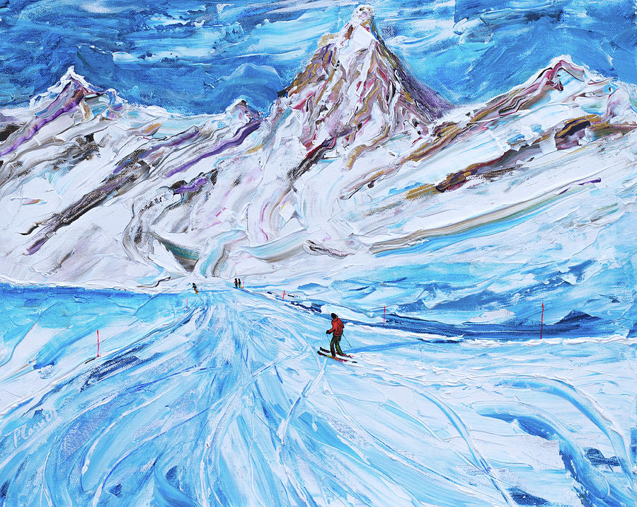 Italy Painting - Cervinia Ski Print by Pete Caswell