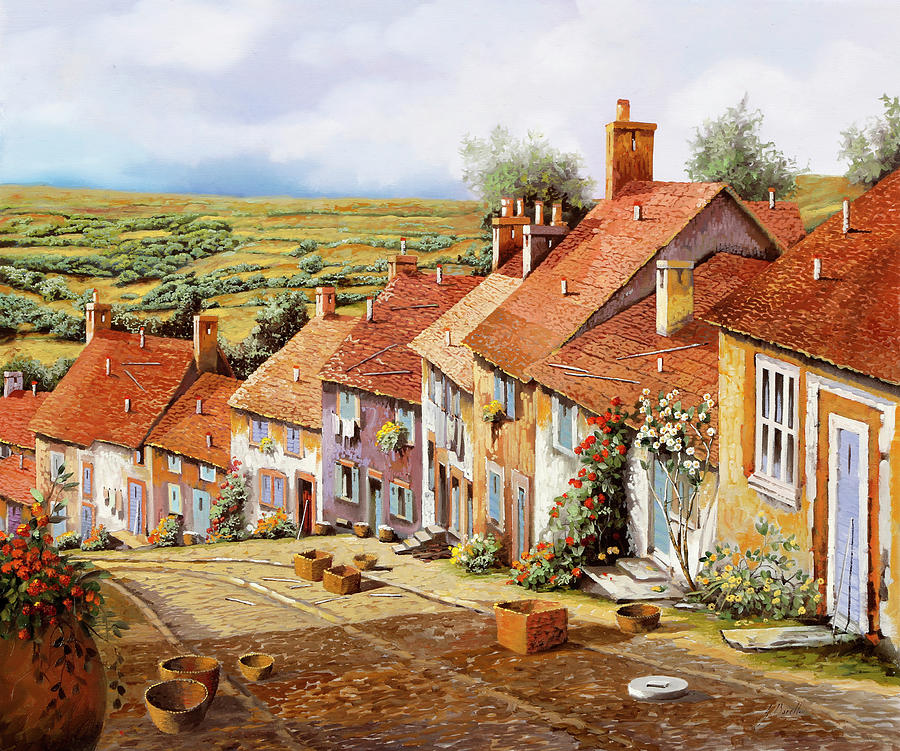 English Landscape Painting - Ceste Sulla Discesa by Guido Borelli