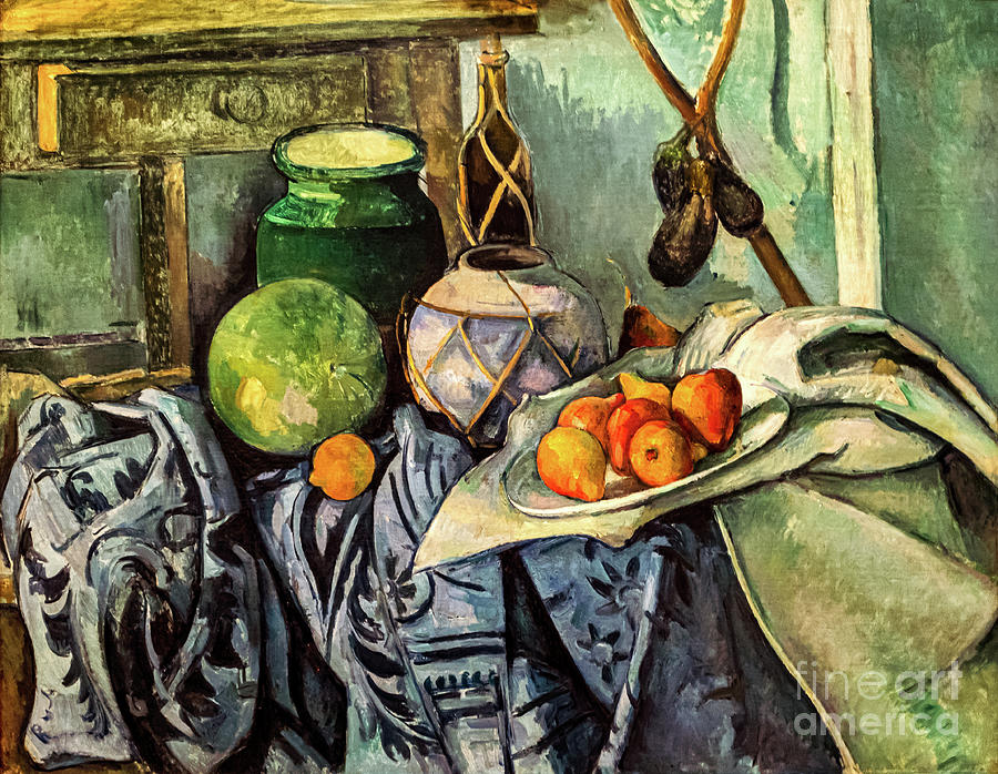 Cezanne Still Life with a Ginger Jar and Eggplants by Paul Cezanne