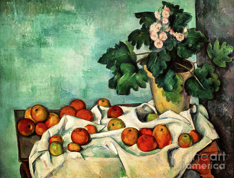 Cezanne Still Life with Apples and a Pot of Primroses by Paul Cezanne
