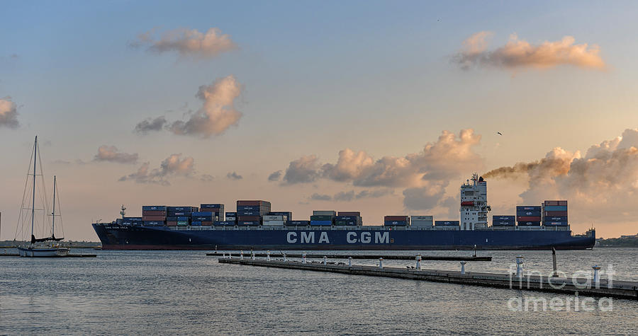 CGM ORCA Freighter Steaming out of Charleston Harbor by Dale Powell