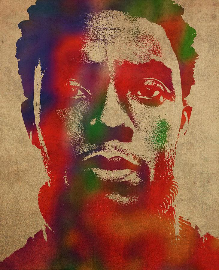 Chadwick Boseman Mixed Media - Chadwick Boseman Watercolor Portrait by Design Turnpike
