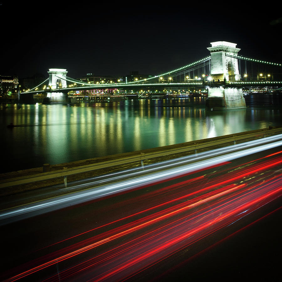 Land Vehicle Photograph - Chain Bridge At Night In Budapest by Mark Whitaker