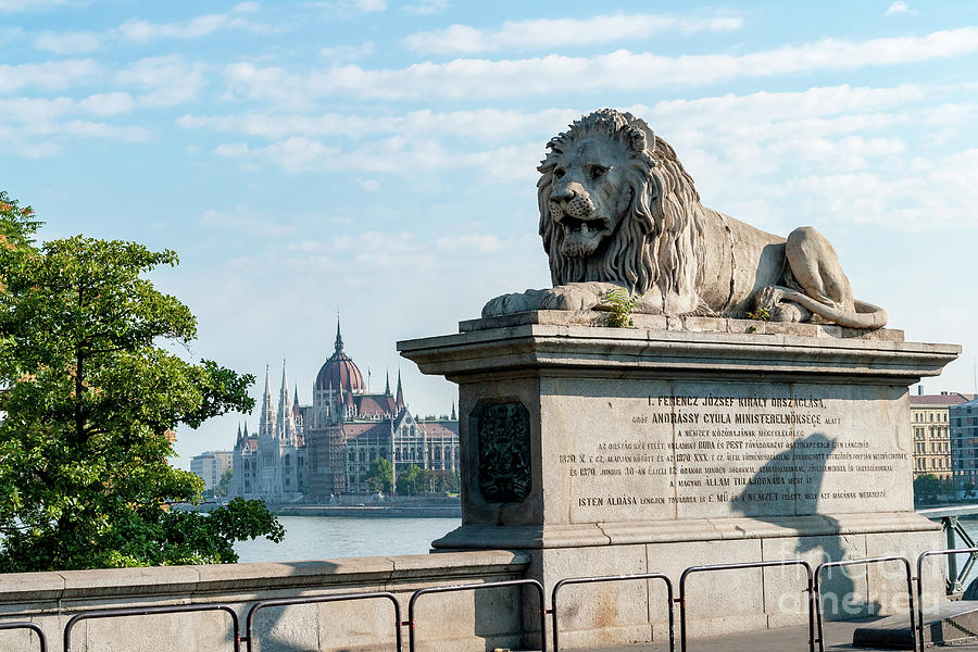 Chain Bridge lion's and Parliament of Budapest by Ulysse Pixel