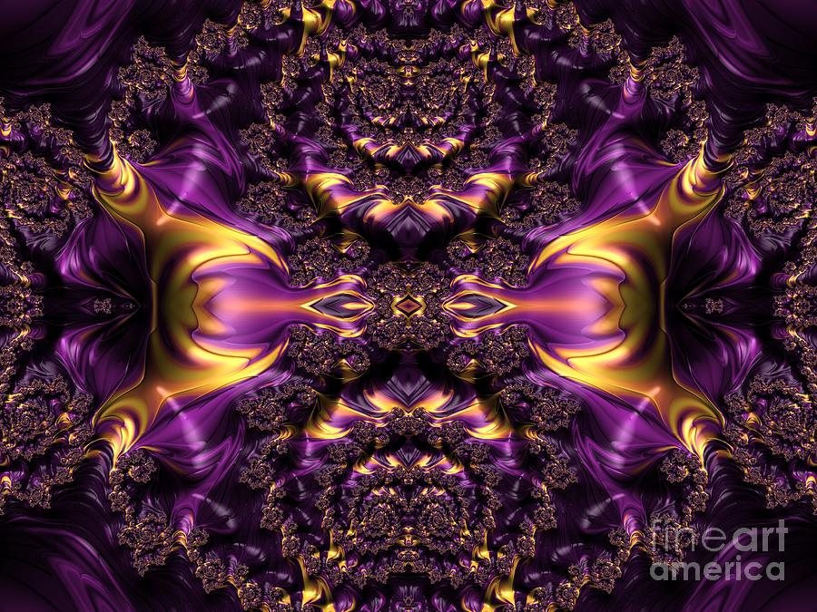 Chained Dragons Condemned  to Battle in Hells Fiery Furnace Fractal Abstract by Rose Santuci-Sofranko