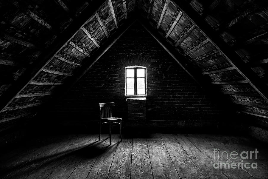 Chair And Window In Empty Attic In Photograph by Petr Lenz