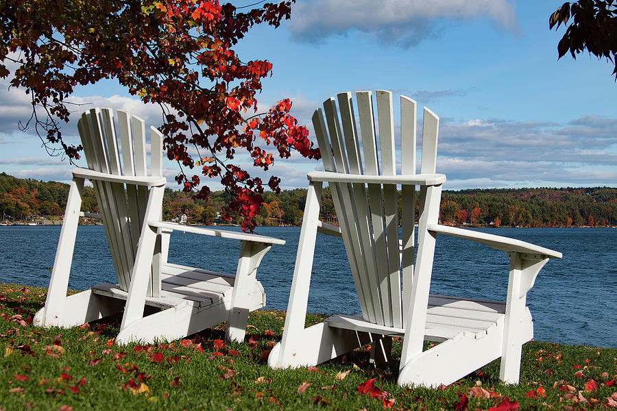 Chairs for two at the lakes edge by Jeff Folger